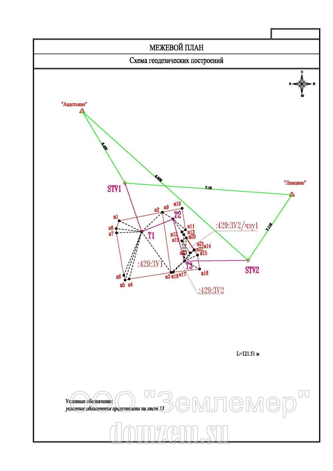 Пример схемы геодезической основы