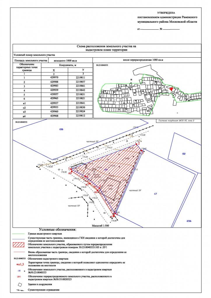 Схема расположения ЗУ с топопланом